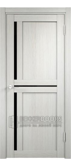 Дверь ПО Берлин 01 Слоновая кость Стекло Лакобель Черное