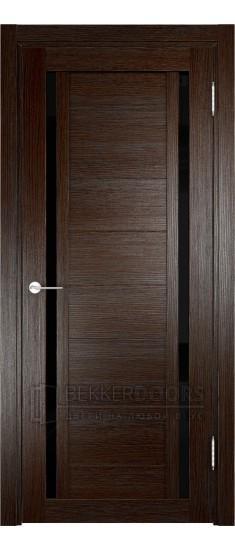 Дверь ПО Берлин 06 Дуб темный Стекло Лакобель Черное