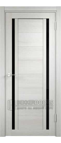 Дверь ПО Берлин 06 Слоновая кость Стекло Лакобель Черное