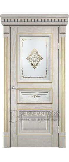 Дверь ПО Версаль Патина золотая Остекление Художественное