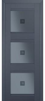 Дверь ПО 4U Антрацит Стекло узор графит с прозрачным фьюзингом