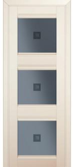 Дверь ПО 4U Магнолия сатинат Стекло узор графит с прозрачным фьюзингом