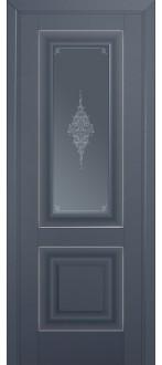 Дверь ПО 28U Антрацит Стекло кристалл графит  Молдинг серебро