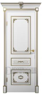 Дверь Эмилия ПГ  Эмаль+Патина золото