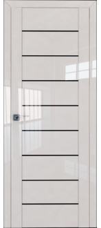 Дверь ПО 45L Магнолия Люкс Стекло Триплекс черный