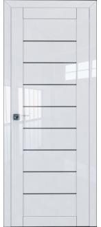 Дверь ПО 73L Белый Люкс Стекло графит