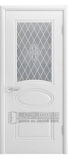 Дверь Ария ПО Эмаль белая Стекло Белое матовое с рисунком