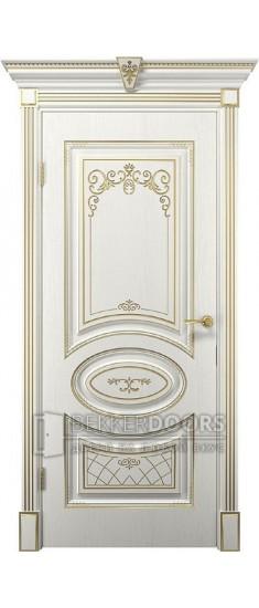 Дверь Вителия ПГ  Белое дерево+патина золото