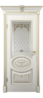 Дверь Вителия ПО  Белое дерево+патина золото