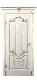 Дверь Олимпия ПГ  Белое дерево+патина золото