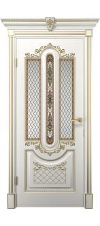 Дверь Олимпия ПО  Белое дерево+патина золото