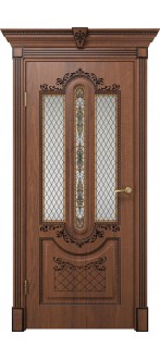 Дверь Олимпия ПО  Дуб янтарный+патина черная