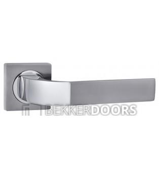 Дверная ручка Лукка белый никель/хром
