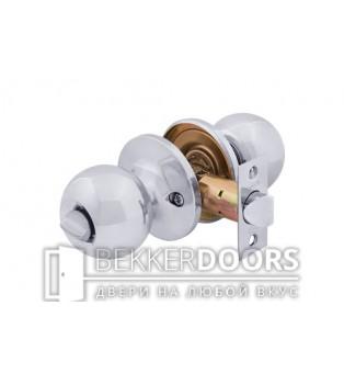 Дверная ручка-защелка Кноб сантехническая белый никель