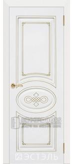 Дверь Бьянка ПГ Эмаль белая/Патина золото