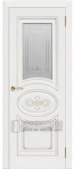 Дверь Бьянка ПО Эмаль белая/Патина золото
