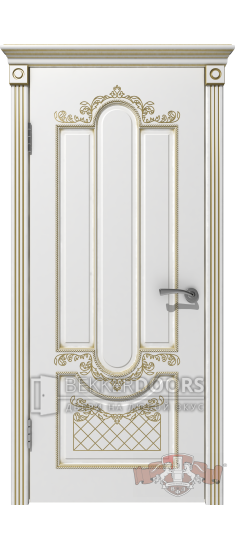 Дверь 41ДГ0 Александрия  Эмаль белая/Патина золото
