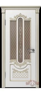 Дверь 41ДО0 Александрия Эмаль белая/Патина золото