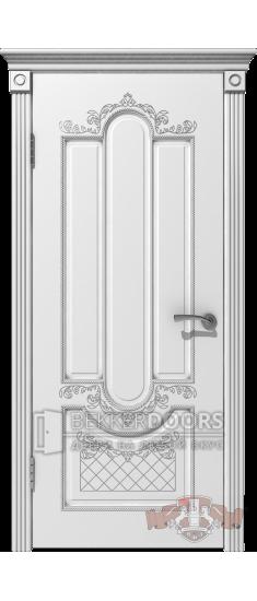 Дверь 41ДГ0 Александрия  Эмаль белая/Патина серебро