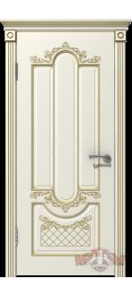 Дверь 41ДГ01 Александрия Эмаль слоновая кость/Патина золото