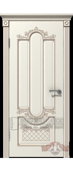 Дверь 41ДГ01 Александрия  Эмаль слоновая кость/Патина капучино