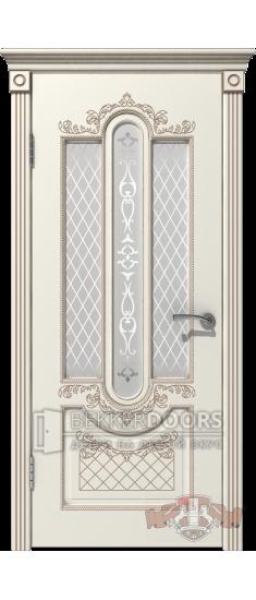 Дверь 41ДО01 Александрия  Эмаль слоновая кость/Патина капучино