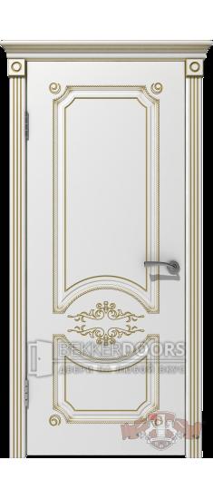 Дверь 42ДГ0 Милана  Эмаль белая/Патина золото
