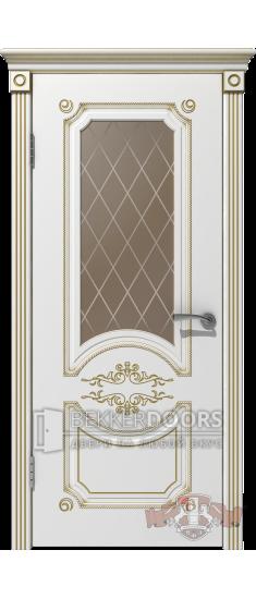 Дверь 42ДО0 Милана Эмаль белая/Патина золото
