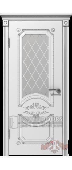 Дверь 42ДО0 Милана  Эмаль белая/Патина серебро