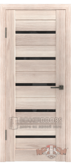 Дверь Л1ПГ1 Капучино Стекло ультра черное
