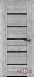 Дверь Л1ПГ2 Серый дуб Стекло ультра черное