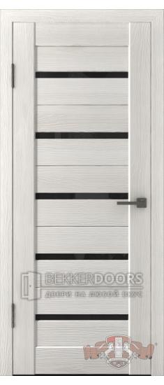 Дверь Л1ПГ5 Беленый дуб Стекло ультра черное