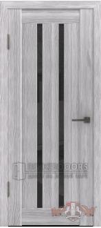 Дверь Л2ПГ2 Серый дуб Стекло ультра черное