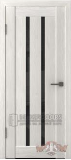 Дверь Л2ПГ5 Беленый дуб Стекло ультра черное