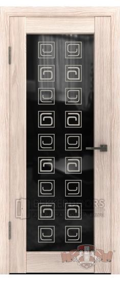 Дверь Л8ПО1 Капучино Стекло триплекс квадрат черное