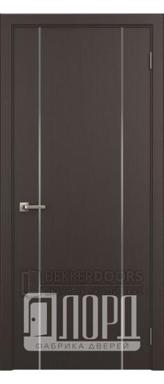 Дверь Техно 2 ДГ с молдингом Венге