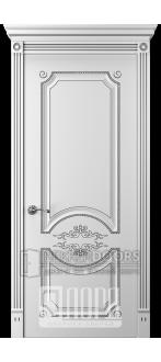 Дверь Прима 1 ДГ Белый снег патина серебро
