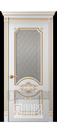 Дверь Прима 1 ДО Белый снег патина золото