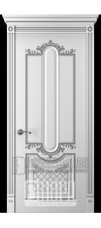 Дверь Прима 2 ДГ Белый снег патина серебро