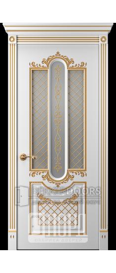Дверь Прима 2 ДО Белый снег патина золото
