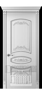 Дверь Прима 3 ДГ Белый снег патина серебро