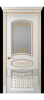 Дверь Прима 3 ДО Белый снег патина золото