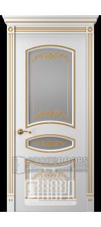Дверь Прима 4 ДО Белый снег патина золото