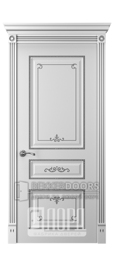 Дверь Прима 5 ДГ Белый снег патина серебро
