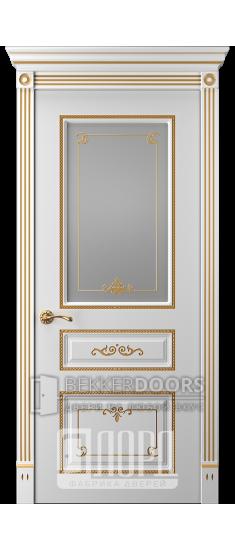 Дверь Прима 5 ДО Белый снег патина золото