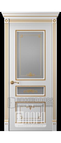 Дверь Прима 6 ДО Белый снег патина золото