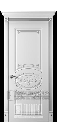 Дверь Прима 7 ДГ Белый снег патина серебро