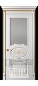 Дверь Прима 7 ДО Белый снег патина золото