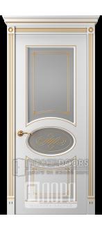Дверь Прима 8 ДО Белый снег патина золото