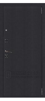 Дверь ДМ Атлант Зеркало Шагрень черная (Внешняя)